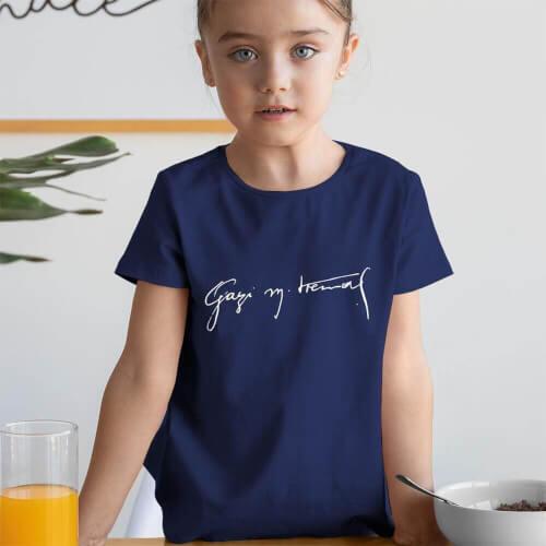 Gazi Mustafa Kemal İmzalı Kız Çocuk Kısa Kol Tişört - Tekli Kombin - Thumbnail