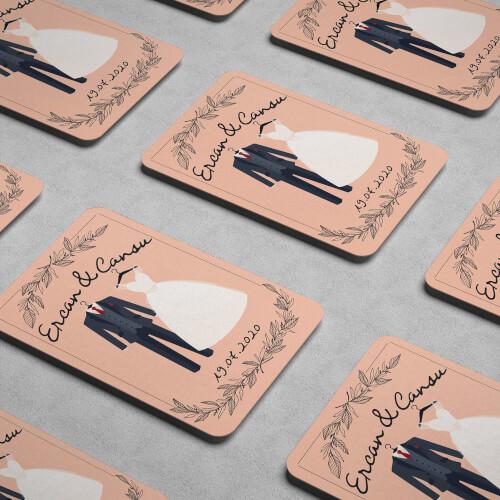 Gelinlik ve Damatlık Tasarımlı Düğün Magneti - Thumbnail