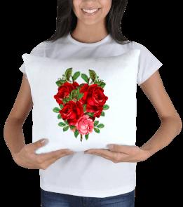 Ms Art Tasarım - gül desenli Kare Yastık
