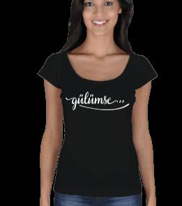 SrdSzr Tasarım - Gülümse Kadın Tişört Kadın Açık Yaka