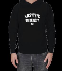 Hacettepe T-shirt - Hacettepe Yazılı Hoodie Erkek Kapşonlu