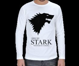 Metal Tee - House Stark Beyaz Erkek Uzun Kol