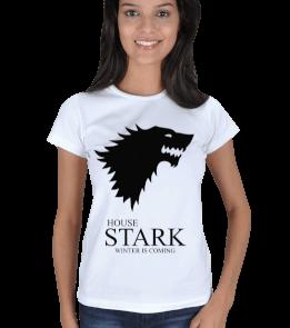 Metal Tee - House Stark Beyaz Kadın Tişört