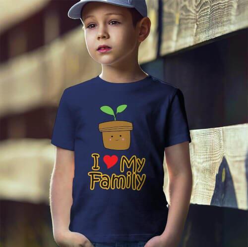 Tisho - I Love My Family Erkek Çocuk Kısa Kol Tişört - Tekli Kombin