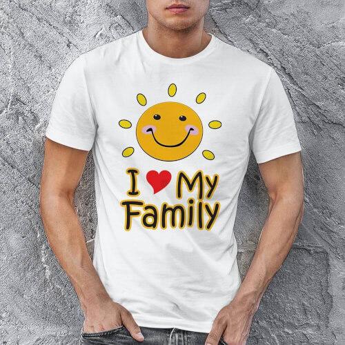 I Love My Family Erkek Kısa Kol Tişört - Tekli Kombin - Thumbnail