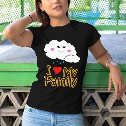 Tisho - I Love My Family Kadın Kısa Kol Tişört - Tekli Kombin