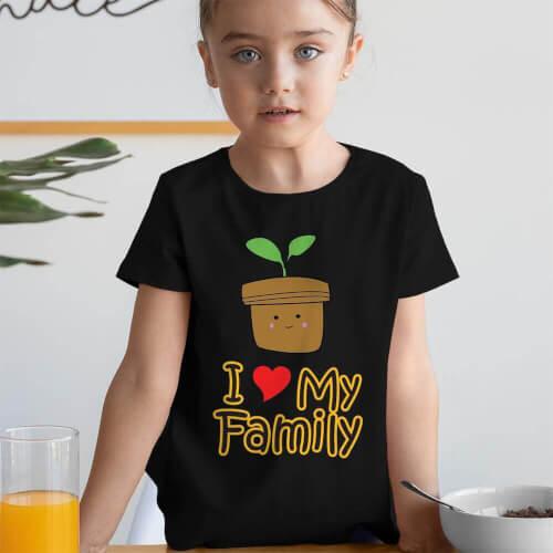 Tisho - I Love My Family Kız Çocuk Kısa Kol Tişört - Tekli Kombin