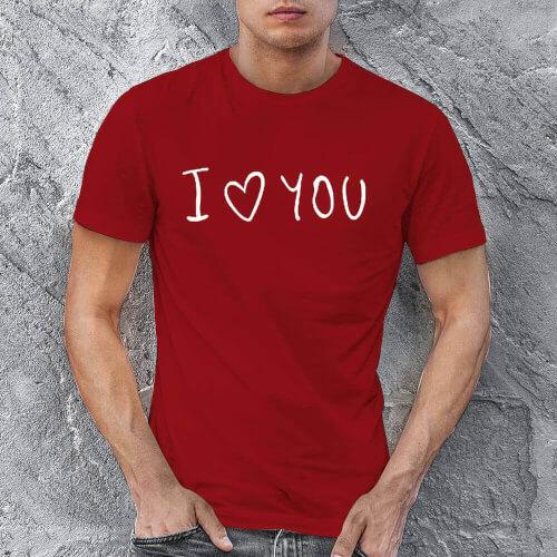 I Love You Erkek Kısa Kol Tişört - Tekli Kombin