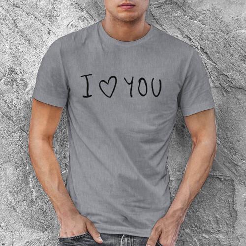 I Love You Erkek Kısa Kol Tişört - Tekli Kombin - Thumbnail