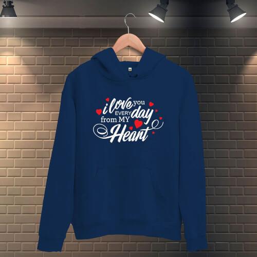 Tisho - I Love You Everyday Erkek Kapüşonlu Sweatshirt