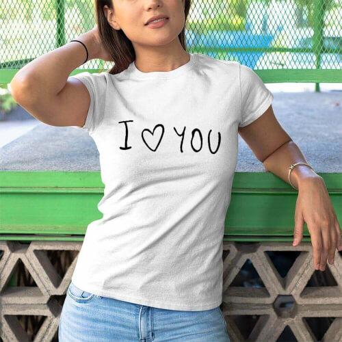 Tisho - I Love You Kadin Kısa Kol Tişört - Tekli Kombin
