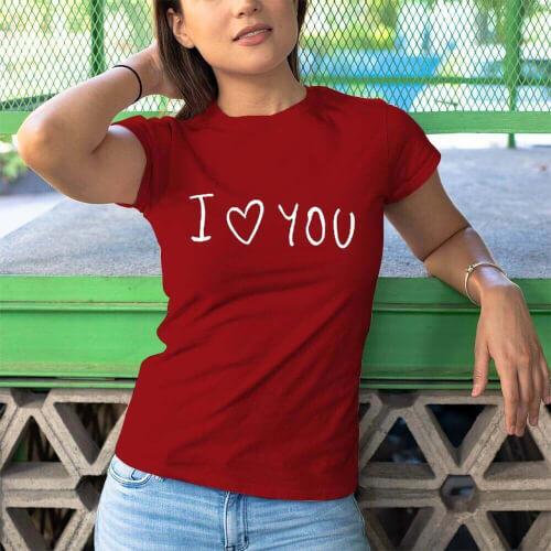 I Love You Kadin Kısa Kol Tişört - Tekli Kombin