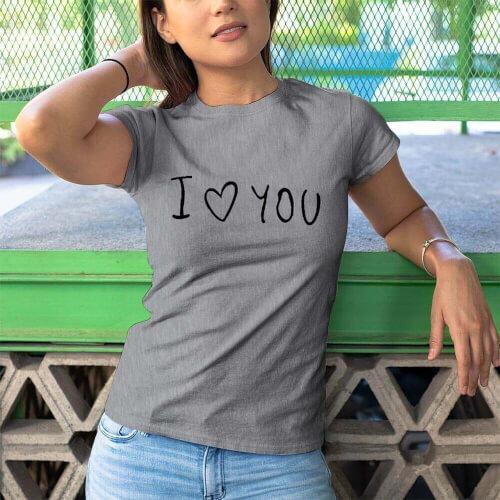 I Love You Kadin Kısa Kol Tişört - Tekli Kombin - Thumbnail