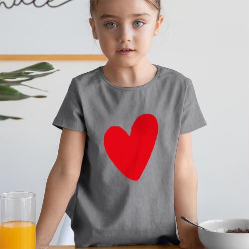 I Love You Kız Çocuk Kısa Kol Tişört - Tekli Kombin