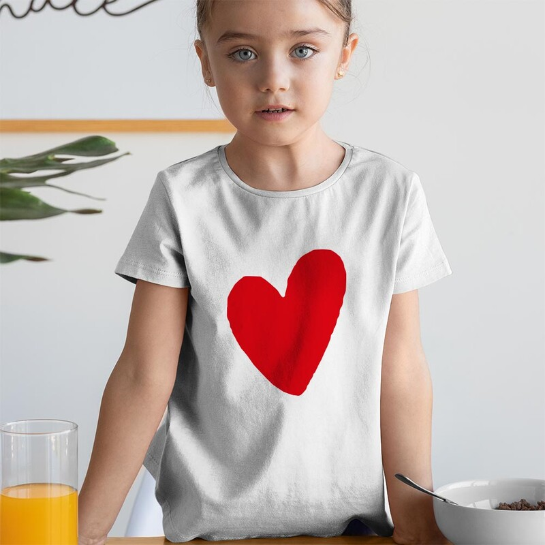 I Love You Kız Çocuk Kısa Kol Tişört - Tekli Kombin - Thumbnail