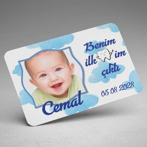 İlk Dişim Çıktı Erkek Bebek Magneti - Thumbnail