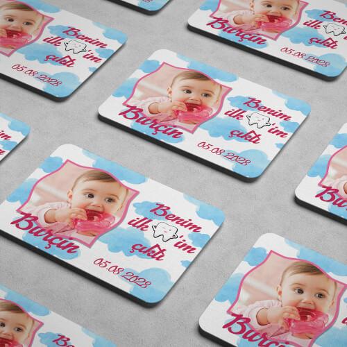 İlk Dişim Çıktı Kız Bebek Magneti - Thumbnail