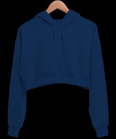 Kadın Crop Hoodie Kapüşonlu Sweatshirt - Thumbnail