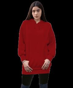 Kadın Uzun Hoodie Kapüşonlu Sweatshirt - Thumbnail