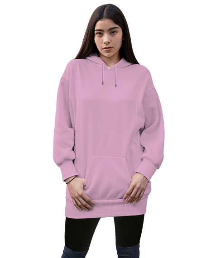 Kadın Uzun Hoodie Kapüşonlu Sweatshirt