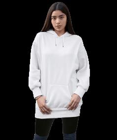 Tisho Kombin Ürünleri - Kadın Uzun Hoodie Kapüşonlu Sweatshirt
