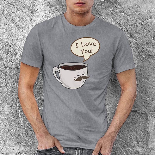 Kahve Baskılı Erkek Tişört - Tekli Kombin - Thumbnail
