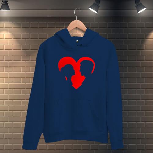 Tisho - Kalp İçerisindeki Sevgililer Erkek Kapüşonlu Sweatshirt