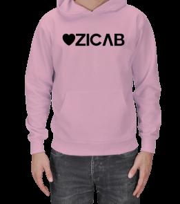 Kalp Tasarımlı Ozicab Logolu Kapüşonlu Erkek Kapşonlu