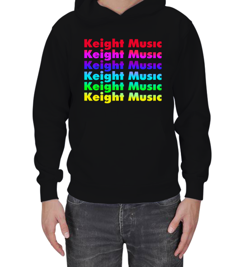 Keight Store - Keight Musıc Rainbow Basıc Sweatshirt Erkek Kapşonlu