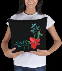 MeizDesign - Kırmızı çiçekli yastık Kare Yastık