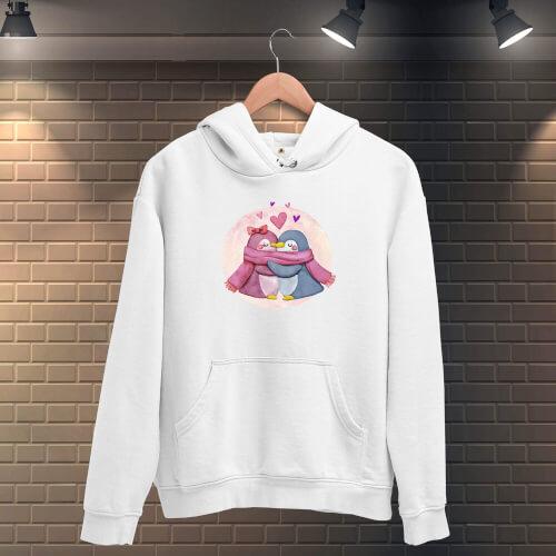Tisho - Kış Sevgili Penguenler Kadın Kapüşonlu Sweatshirt