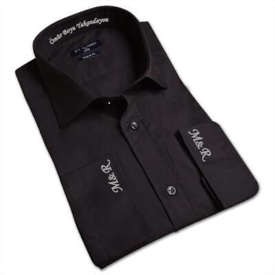 Tisho - Kişiye Özel Nakış İşlemeli Erkek Regular Fit Siyah Gömlek