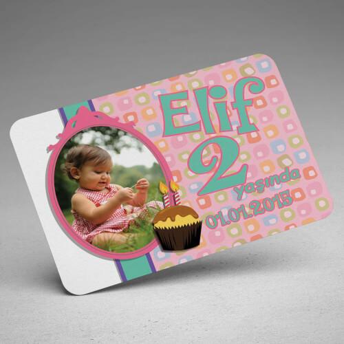 Kız Bebek İçin Doğum Günü Magneti - Thumbnail