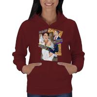 Kolaj Baskılı Kişiye Özel Bayan Kapşonlu Sweatshirt