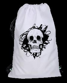 Süper Mağaza - Kuru Kafa Simgeli Sırt Çantası Büzgülü spor çanta