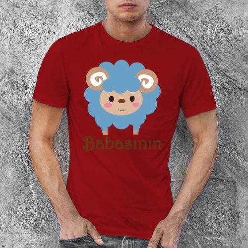 Kuzu Baskılı Erkek Tişört - Tekli Kombin