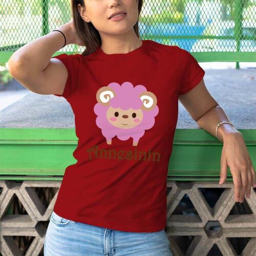 Kuzu Baskılı Kadın Tişört - Tekli Kombin - Thumbnail