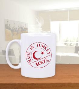 baytarınyeri - Made in Turkey Tek Taraflı Beyaz Kupa Bardak