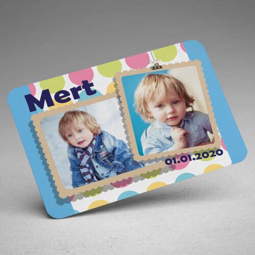 Mavi 2 Fotoğraflı Erkek Çocuk Doğum Günü Magneti - Thumbnail