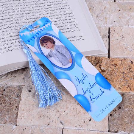 Mavi Balon Temalı Kitap Ayracı