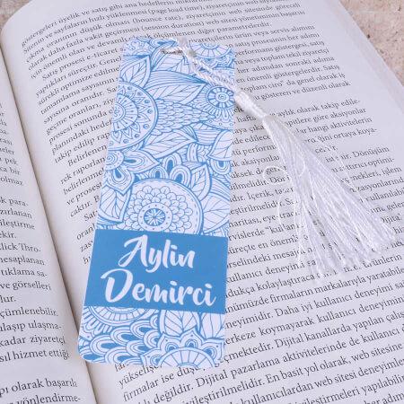 - Mavi Desenli Kitap Ayracı