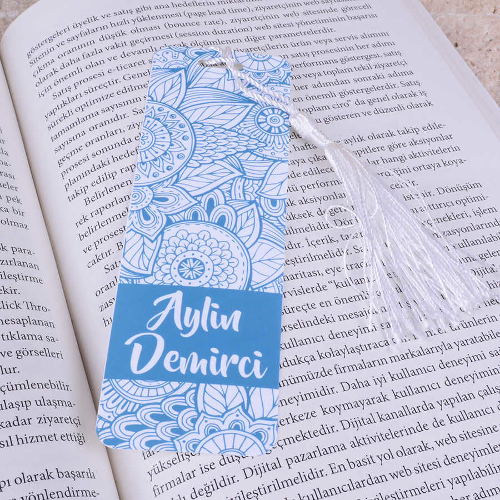 Mavi Desenli Kitap Ayracı