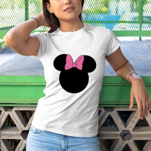 Tisho - Minnie Mouse Kadın Kısa Kol Tişört - Tekli Kombin