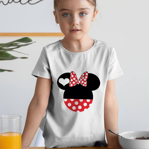 Tisho - Minnie Mouse Kız Çocuk Kısa Kol Tişört - Tekli Kombin