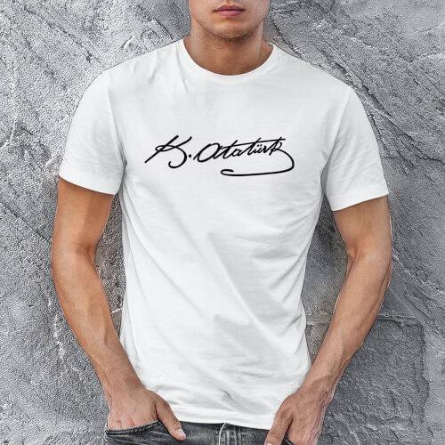 Tisho - Mustafa Kemal Atatürk İmzalı Erkek Kısa Kol Tişört