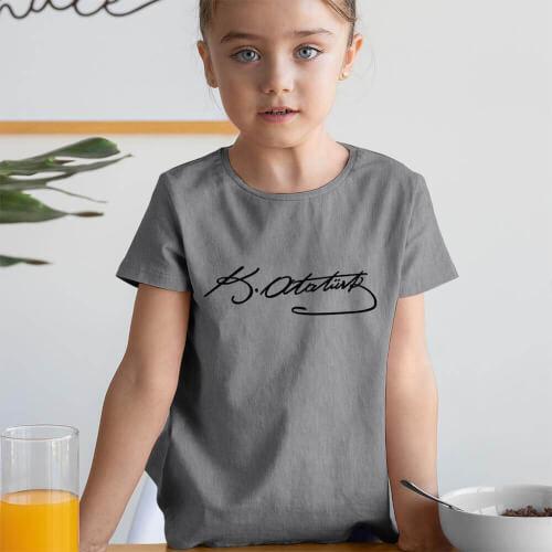 Mustafa Kemal Atatürk İmzalı Kız Çocuk Kısa Kol Tişört - Tekli Kombin