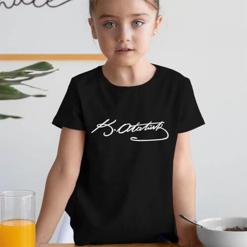 Mustafa Kemal Atatürk İmzalı Kız Çocuk Kısa Kol Tişört - Tekli Kombin - Thumbnail