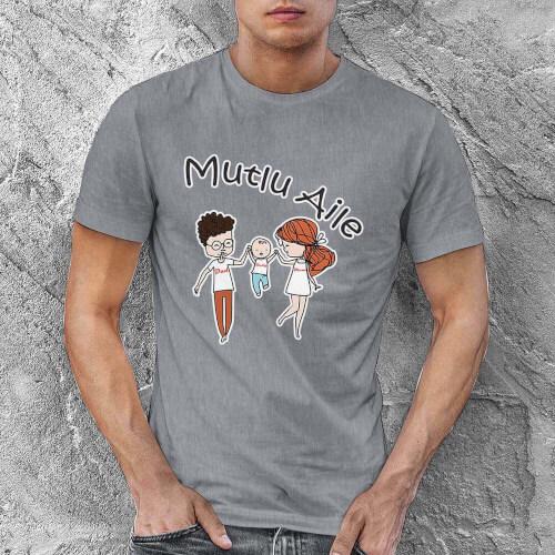 Tisho - Mutlu Aile Erkek Tişört - Tekli Kombin