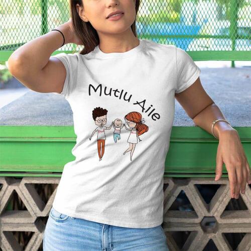 Mutlu Aile Kadın Tişört - Tekli Kombin - Thumbnail