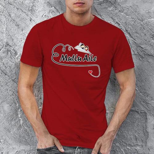 Mutlu Aile Temalı Erkek Tişört - Tekli Kombin - Thumbnail